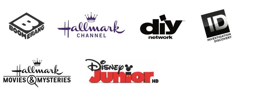 Boomerang TV Channel, Hallmark Channel, DIY Network, Hallmark Movies & Mystery, Disney Jr. HD